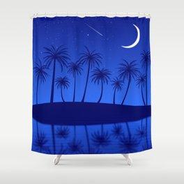 Blue Island Starry Sky Shower Curtain