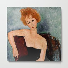 "Amedeo Modigliani ""Redheaded Girl in Evening Dress"" Metal Print"
