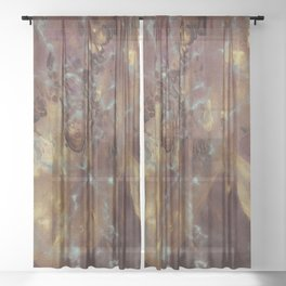 Abstract copper pattern Sheer Curtain