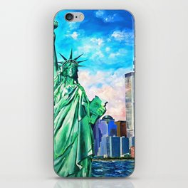 NYC, WTC, Twin Towers, Statue of Liberty iPhone Skin