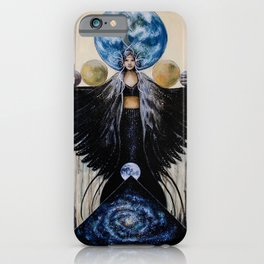 Between the Worlds // Visionary Art Woman Goddess Feminine Earth Moon Planets Stars iPhone Case