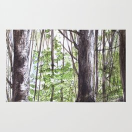 Woodland Trees in Vermont Illustration Nature Art Rug