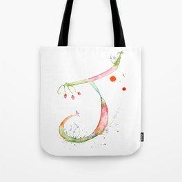 Letter J watercolor - Watercolor Monogram - Watercolor typography - Floral lettering Tote Bag