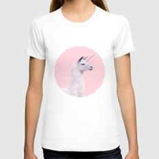 UNICORN LAMA White Womens Fitted Tee MEDIUM