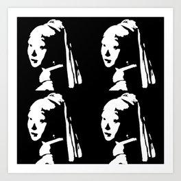 Black&White Pearl Earring Art Print