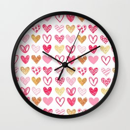 Doodle Hearts Wall Clock