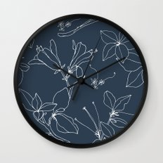 Drawings from Stonecrop Garden, Pattern in Navy Wall Clock