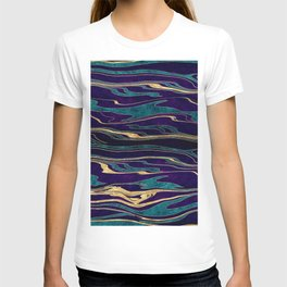 Stylish gold abstract marbleized paint image T-shirt