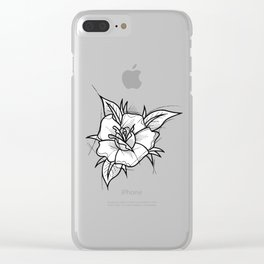Flower Handmade Drawing, Made in pencil and ink, Tattoo Sketch, Tattoo Flash, Blackwork Clear iPhone Case