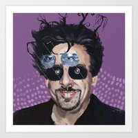 tim burton Art Prints featuring Tim Burton by Pazu Cheng