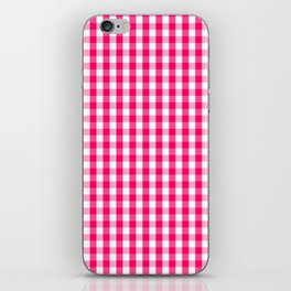 Hot Neon Pink and White Gingham Check iPhone Skin