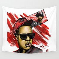jay fleck Wall Tapestries featuring Jay Z by C.Love Designs