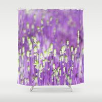 lavender Shower Curtains featuring Lavender by Paula Belle Flores