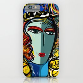 Portrait of a Girl with Hat French Pop Art Expressionism iPhone Case