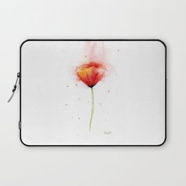 Red Poppy Flower Watercolor Abstract Poppies Floral Laptop Sleeve