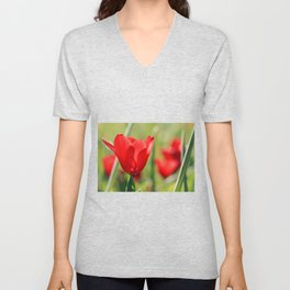 Red tulips in backlight 2 Unisex V-Neck