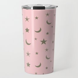 Pink background with grey moon and star pattern Travel Mug