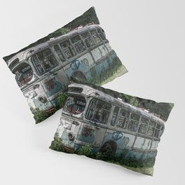 Abandoned Bus Broken and Abused Rusty Car Pillow Sham