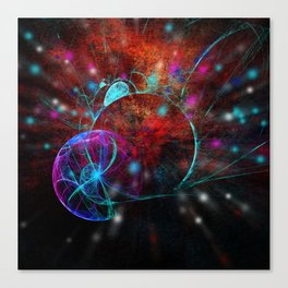 Ammonite emerging from space Canvas Print