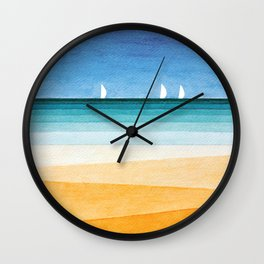 Yachts sea beach watercolor geometric Wall Clock