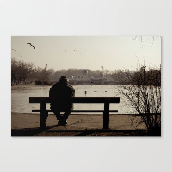 Man in the park. Budapest Canvas Print