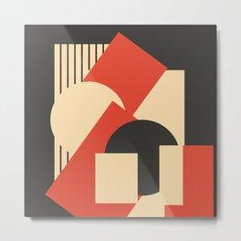 Geometrical abstract art deco mash-up scarlet beige Metal Print