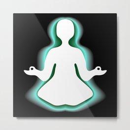 Meditating with green aura Metal Print