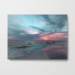 Pink and Teal Beach Sunset tropical vacation Metal Print