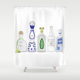 Tequila Bottles Illustration Shower Curtain