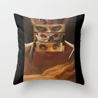 mad max Throw Pillows featuring Mad Max Fury Road by Laura Pulido