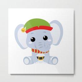 Cute Baby Elephant Elf with hat Xmas Metal Print