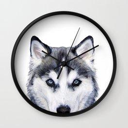 Siberian Husky original painting by Miart Wall Clock