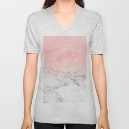 Modern blush pink watercolor ombre white marble Unisex V-Neck