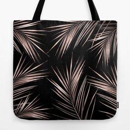 Rosegold Palm Tree Leaves on Midnight Black Tote Bag