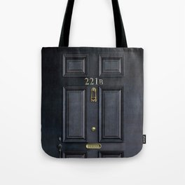 Haunted black door with 221b number Tote Bag