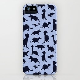 Dinosaurs cute pattern blue and navy iPhone Case