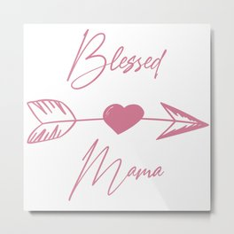 Blessed Mama boho pink lettering Metal Print