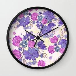 Purple Floral Bouquet Wall Clock