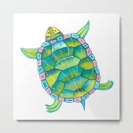 Tropical sea turtle - turquoise aqua blue Metal Print