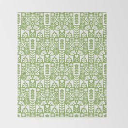 Swedish Folk Art - Greenery Throw Blanket