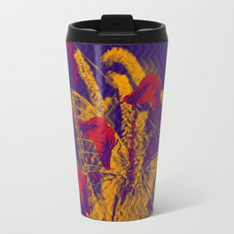 Red radioactive butterflies in glowing landscape Travel Mug