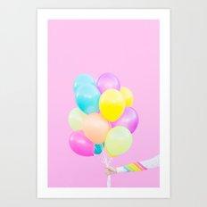 Handheld Balloons on Pink Art Print