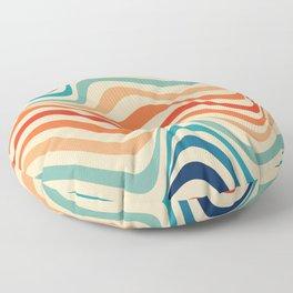 Retro 70s Color Palette   Optical Wave Illusion Floor Pillow