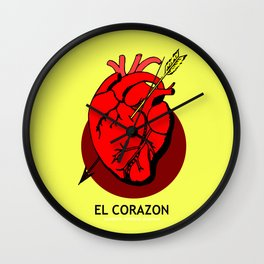 El Corazon Mexican Loteria Pop Art Wall Clock