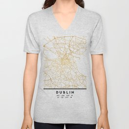 DUBLIN IRELAND CITY STREET MAP ART Unisex V-Neck