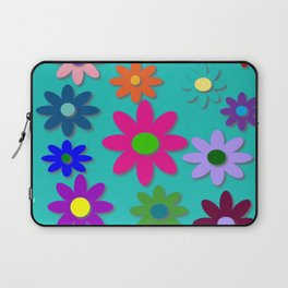 Flower Power - Teal Background - Fun Flowers - 60's Style - Hippie Syle Laptop Sleeve