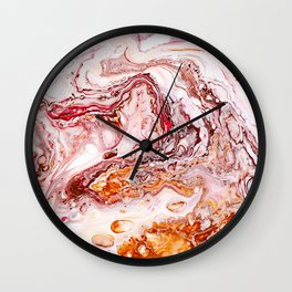 Red Marble Swirl Pattern Wall Clock