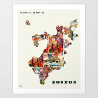 boston map Art Prints featuring boston map by bri.buckley