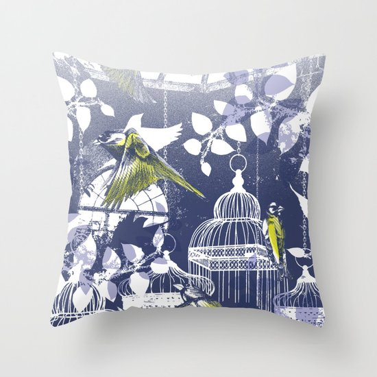 Green Finch Green House Throw Pillow