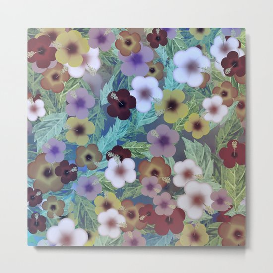 Hibiscus, The Moonlit Garden Metal Print